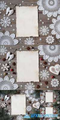 Christmas Wooden Background with Lace Snowflakes, Gingerbread and Blank Greeting List
