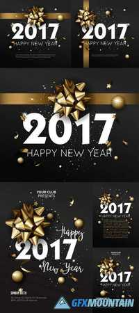 Happy New Year 2017 Greeting Card or Poster Template