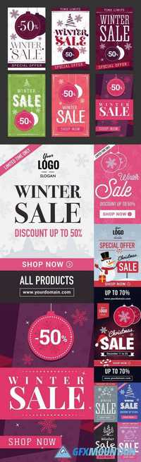 Winter Sale Abstract Mobile Banners Set