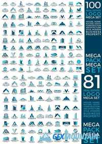 Mega Set and Big Group, Real Estate, Building and Construction Logo Vector Design 2
