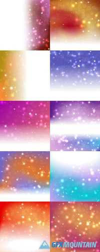 Abstract Christmas Background With Bright Stars, Bokeh and Snowflakes
