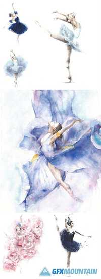 Ballerina Dancing Girl Watercolor Painting