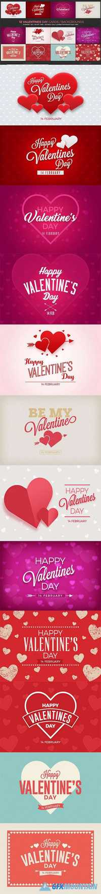 12 Valentines Day Cards/Backgrounds  1140821
