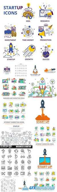 Start Up Business Icon and Logos - Internet Marketing