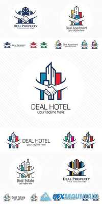 Property Deal Logo Design Vector - Real Estate or Apartment Trading Concept with Hand Shake Symbol