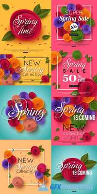 Spring Paper Flowers Background