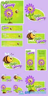 Hello Spring - Cartoon Flowers and Bee
