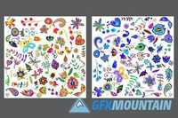 Floral Elements and Backgrounds Set 1237451