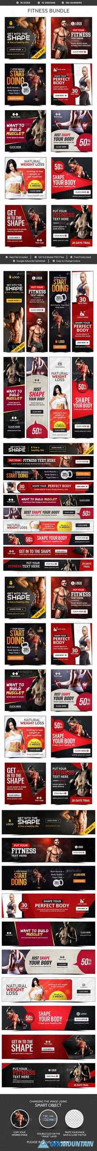 Graphicriver Fitness Banners Bundle - 10 Sets - 180 Banners 19460040