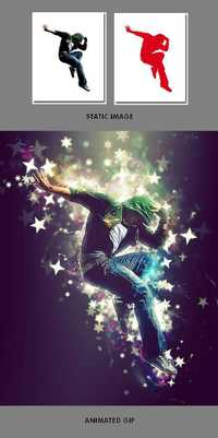Graphicriver Gif Animated Stars Wave Photoshop Action 19535869
