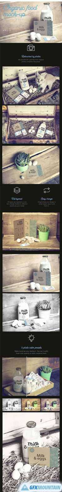 Organic Food Photo Mockup Milk & Eggs Vol.2
