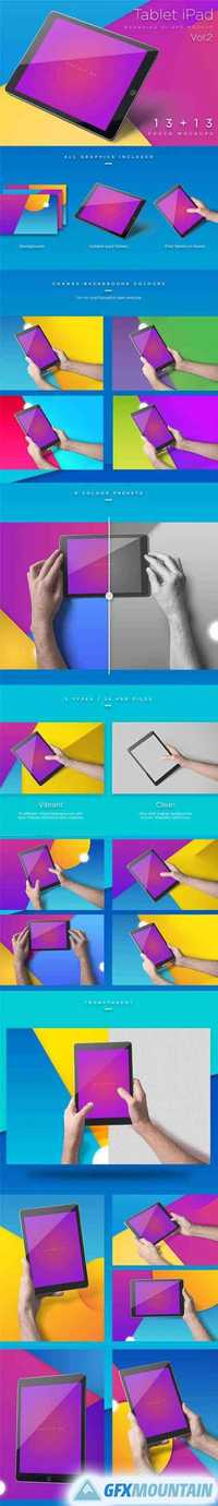 iPad Tablet UI Mockups - Vivid Backgrounds Vol.2