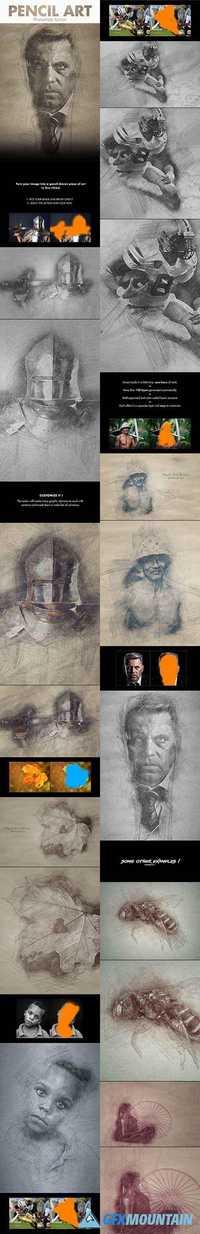 Pencil art photoshop action 19476077