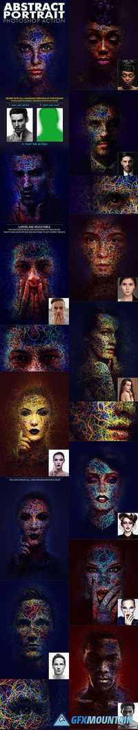 Abstract Portrait Photoshop Action 19746177