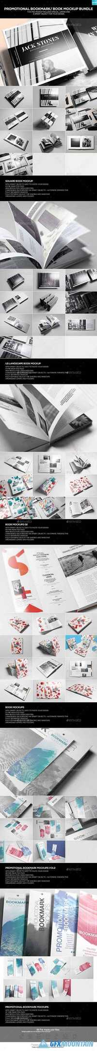 Promotional Bookmark/ Book Mockup Bundle 19866657