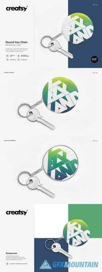 Round Key Chain Mockup Set 1447970