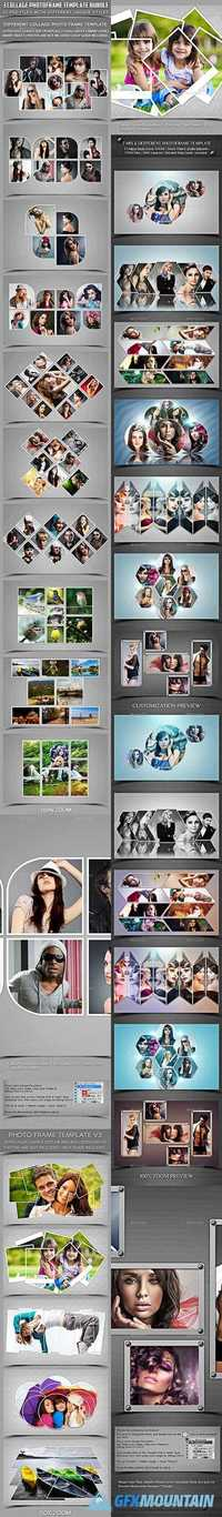 3 COLLAGE PHOTO FRAME TEMPLATE BUNDLE - 19596991