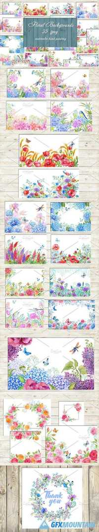 floral backgrounds watercolor  1448362