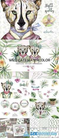 Wild Cats. Tropical watercolor 1318206