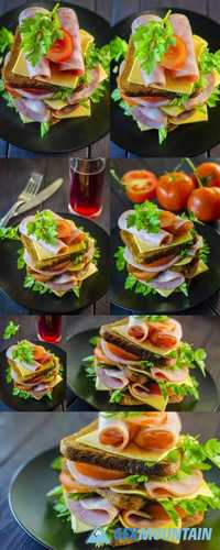 Large Sandwich with Sausage and Cheese