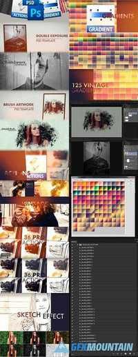 Awesome Photoshop Bundle - Actions, Gradients and PSD Templates