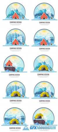 Flat Style Design of Winter Seaside Landscape and Camping Tent