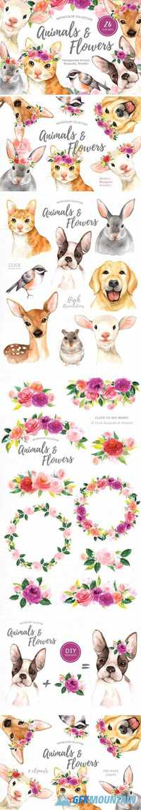ANIMALS & FLOWERS WATERCOLOR CLIPART - 1624478