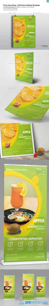 Fruit Juice Shop/ A3 Poster and Rollup Template 16402062