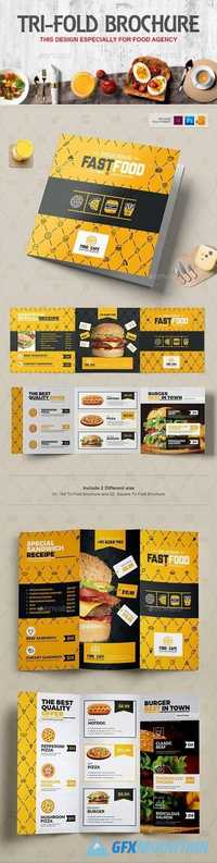 Tri-Fold Brochure (Square & Tall) Design Template for Fast Food / Restaurants / Cafe 20308586