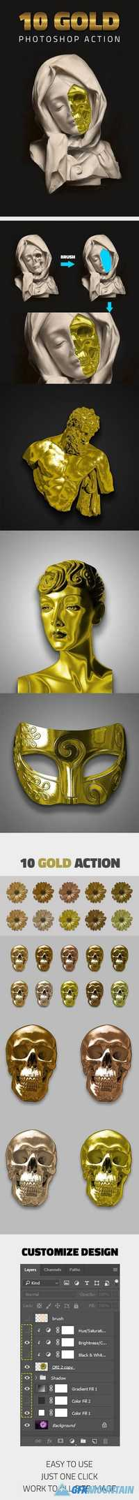 10 Gold Effect Photoshop Action 20460997