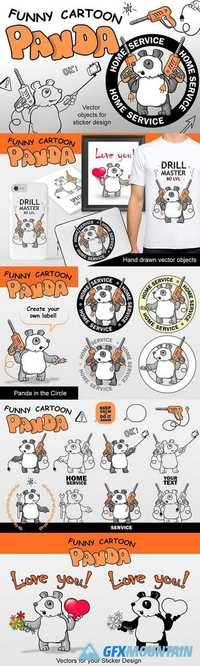 Funny Vector Pandas - Doodle Style 1738881