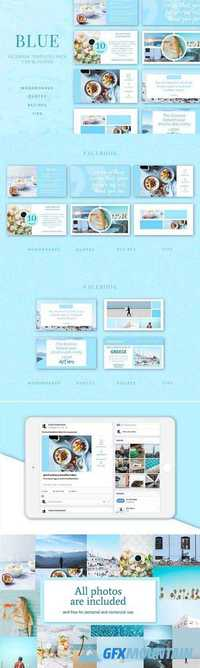Blue | Facebook post templates pack 1740179