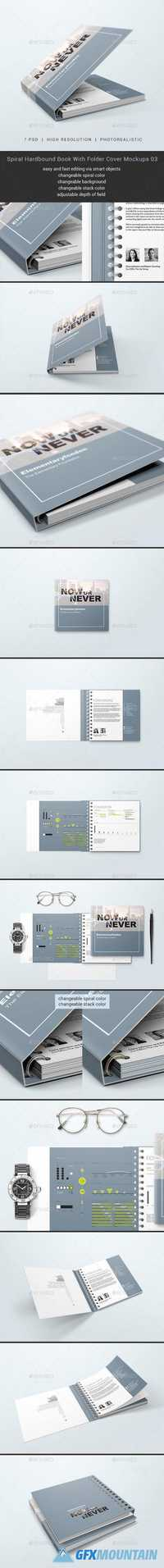 Spiral Hardbound Book With Folder Cover Mockups 03 20628864