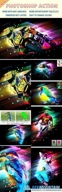Dazzling Light Effect Photoshop Action 20661112