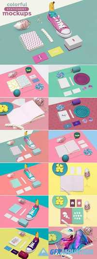Colorful stationery mockups 1887585