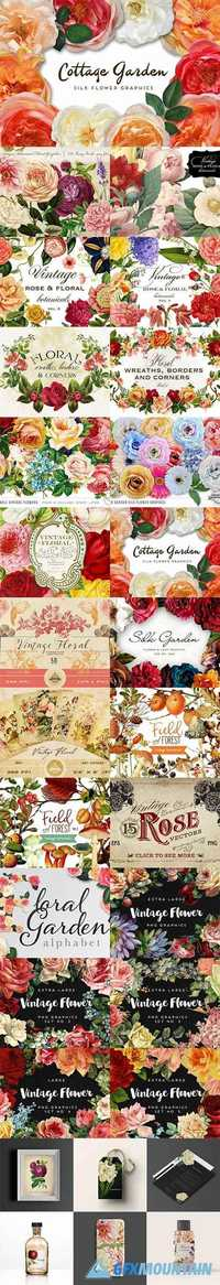 MEGA BUNDLE OF GORGEOUS FLOWER GRAPHICS