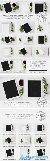 Green + Minimal Tablet Mockup Bundle 1938213