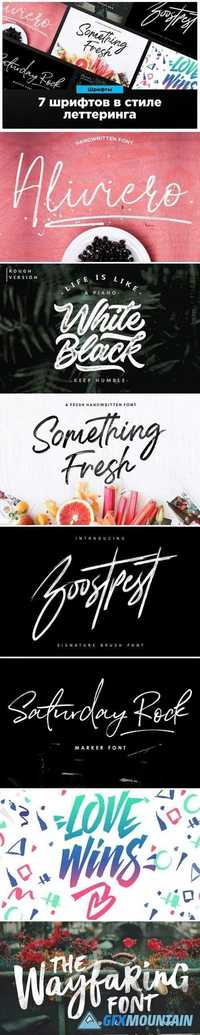 7 fonts in the style of lettering