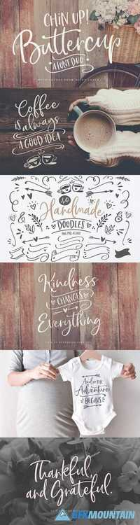 Chin Up Buttercup Font Duo & Extras 2045262