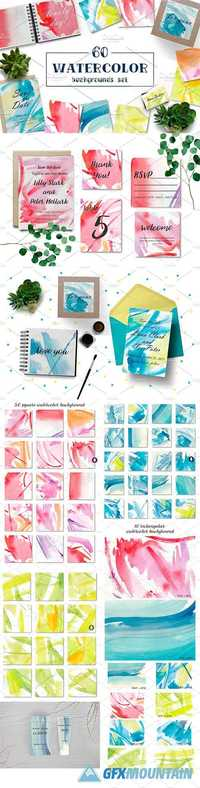 60 WATERCOLOR BACKGROUNDS SET - 1391109