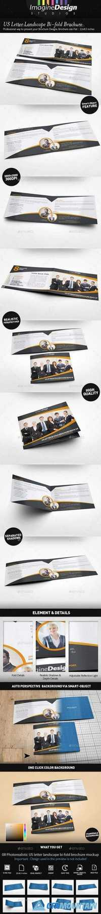 US Letter Landscape Bi-fold Brochure Mock-Up 21037856