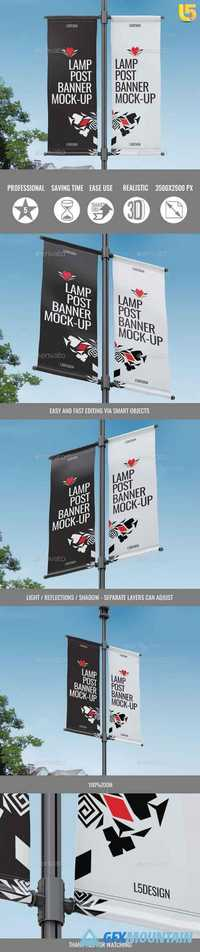 Lamp Post Banner Mock-Up 21074462