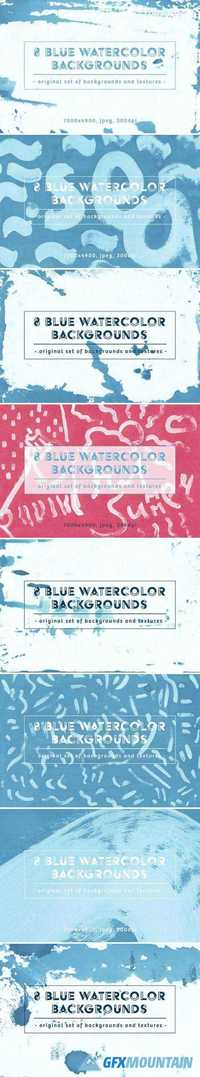 SET OF 8 BLUE WATERCOLOR BACKGROUNDS 2043021