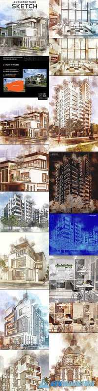 Architecture Sketch Photoshop Action 20891106