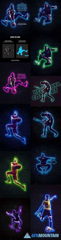 Neon Glow Photoshop Action – Animated - 21048909