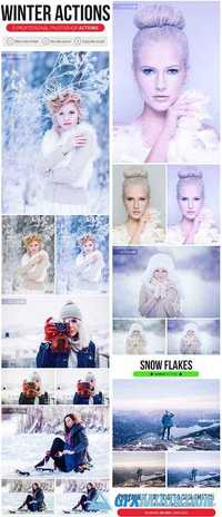 5 Professional Winter Actions + Snow Flakes Action 21058724
