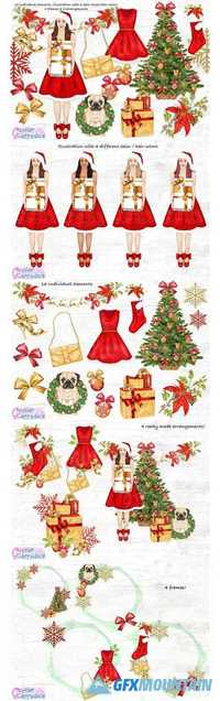 CHRISTMAS FASHION CLIPART SET - 2018380
