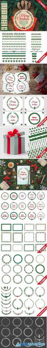 CHRISTMAS WREATH AND BRUSHES - 2046638