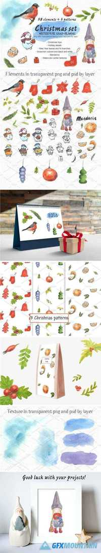 CHRISTMAS SET - WATERCOLOR ELEMENTS - 2084712