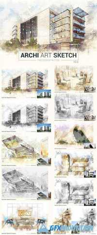 ARCHI ART SKETCH PHOTOSHOP ACTION V2 - 2135673